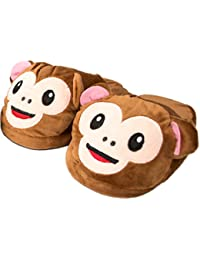 MWS Super Cute Matching Mom and Daughter Cozy Warm Plush Happy Monkey Indoor Slip On House Slippers