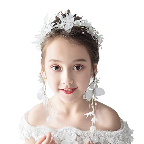 Blumen-Kranz-Mädchen-Haar-Zusatz-Satz-Tiara-Haarband-süßes Mädchen-Hochzeits-Zubehör &Blumenkranz (Braut Satz Tiara)