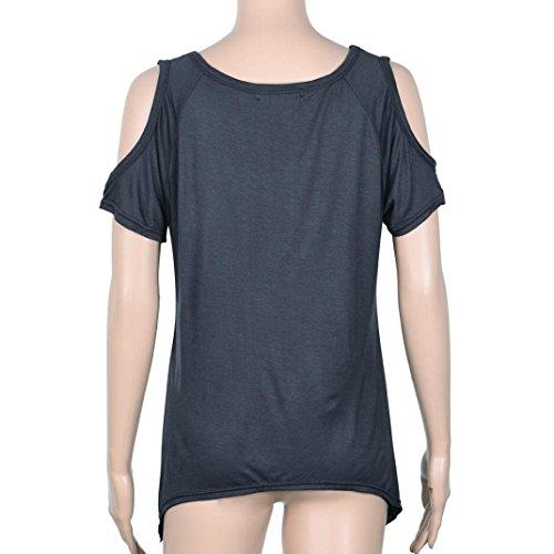 Amlaiworld Femmes Casual v-cou épaule T-Shirt manches courtes solide T-Shirt Stretch Gris foncé