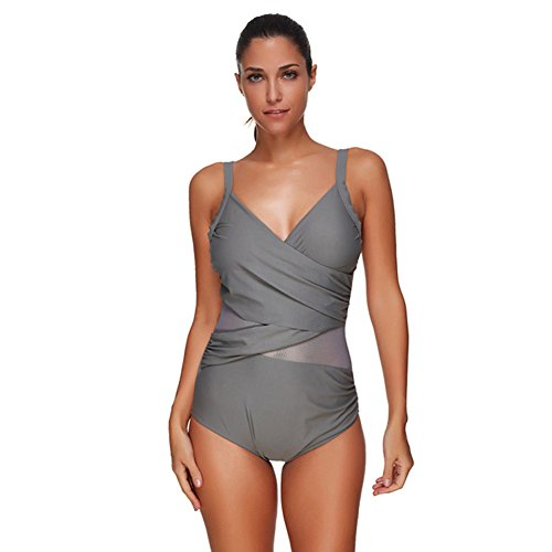 FeelinGirl Damen Bademode Figurumspielend High Neck Bauchweg Badeanzug Push  Up Shaping Effekt 05efb5578b