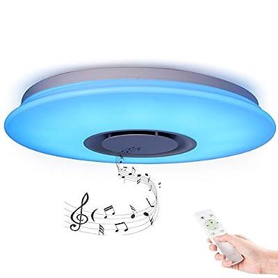 HOREVO 36W LED Plafoniera con Telecomando Integrato Bluetooth Musica Lampada da Soffitto Moderno Caldo/Bianco Tondo Illuminazione a Soffitto Per Camera da Letto Soggiorno Sala da Pranzo Dimmerazione
