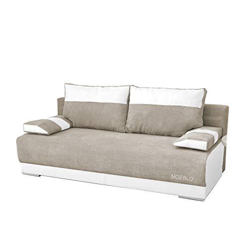 mb-moebel Couch mit Schlaffunktion und Bettkasten Sofa Schlafsofa Wohnzimmercouch Bettsofa Ausziehbar Nisa (Beige + Weiß)