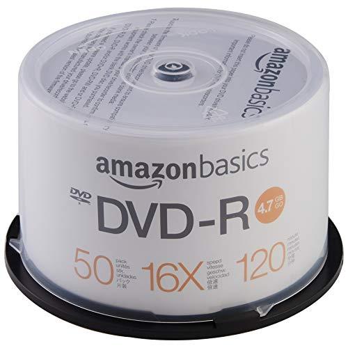 AmazonBasics - DVD-R-Rohlinge, 4,7 GB, 16x, 50er-Spindel