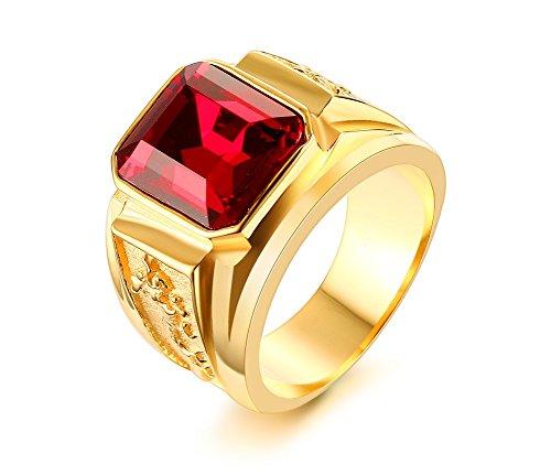 Vnox Anello di fidanzamento di cristallo placcato oro 18K acciaio inox con strass Rosso Uomo
