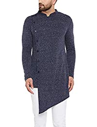 HYPERNATION Men's Cotton Blended Knitted Asymmetrical Kurta (Navy Blue Naps;)