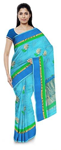 Kota Doria Sarees Women's Kota Doria Handloom Cotton Silk Saree With Blouse Piece (Blue)