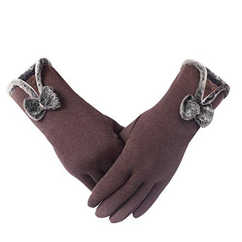 Handschuh Winter-Frau Halten Warme Touch-Screen-Baumwolle Die Nicht Unten Koreanische Version Reitet GAOFENG (Farbe : Coffee-Butterfly)
