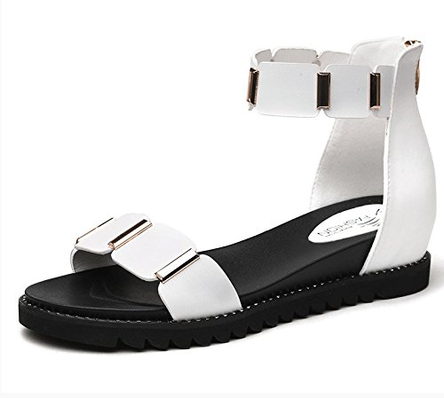 XY&GKFrauen der Sommer Sandalen mit einfachen Wort All-Match Student Schuhe 40 white