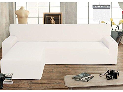 vivi casa Copridivano Genius con Penisola Lato Sinistro Chaise Longue Modello Swing (Bianco)