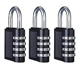 FORTE 3Pack Kombination Lock 4-Ziffern-Kombination Sicherheit Vorhängeschloss für Gepäck, Koffer Gepäck, Schließfächer, Füllung Schränke, Toolbox und vieles mehr, tolles für allgemeine Anwendung auf Minimum zu Medium Sicherheit Stück, (schwarz)