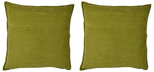 Cartoonpur 2 Piece Cotton Cushion Covers - 22 Inch x 22 Inch, Velvet Plain Mehendi
