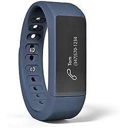 Oumeiou, bracciale per fitness i5Plus Bluetooth Smart, per smartphone, pedometro, conta calorie, monitoraggio sonno, con app gratuita per Android e iOS, Blu intenso