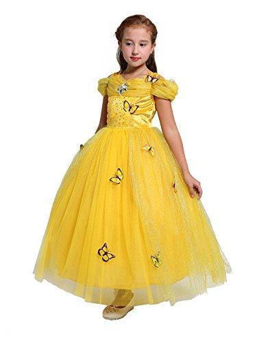 Kostüm Kinder Angel - Lito Angels Mädchen Prinzessin Schmetterling Kleid Kostüm Geburtstag Weihnachten Halloween Party Verkleidung Karneval Cosplay Kinder 2 Jahre Gelb