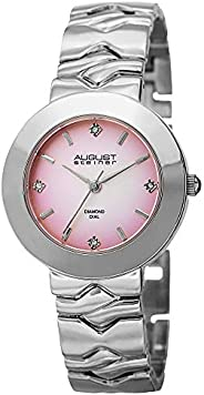 August Steiner Womens Minimalist Dress Watch - Gradient Pink Diamond Dial on Silver Stainless Steel Bracelet -