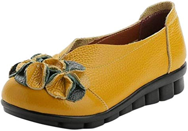 Fuxitoggo Scarpe Scarpe Scarpe Piatte in Pelle Soft-Sole Fiorite da Donna (Coloreee   Giallo, Dimensione   2 UK)   Materiali Di Alta Qualità  48a57f