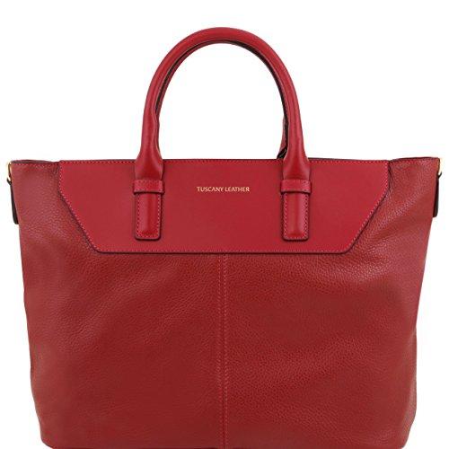 Tuscany Leather Irene - Sac hobo TL SMART en cuir souple Beige Sacs à main en cuir Rouge