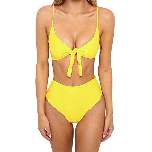 DOLDOA Badebekleidung Damen,Einfarbiger Bikini Set Badeanzug Hohe Taille Damen Badeanzug Bademode Beachwear Schwarz Gelb