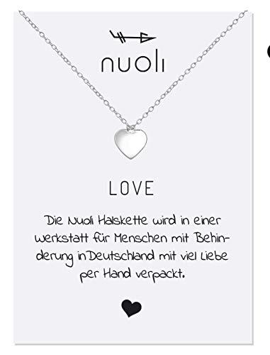 5 Damen Herz (45 cm) Halsketten für Frauen Silber, Kette mit Anhänger, 925 Sterling Silber Schmuck ()