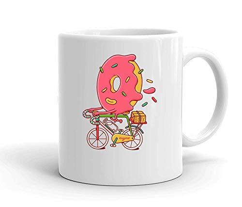 IDcommerce Sweet Donut Riding A Bicycle Artwork Weißer Keramik-Becher für Tee und Kaffee