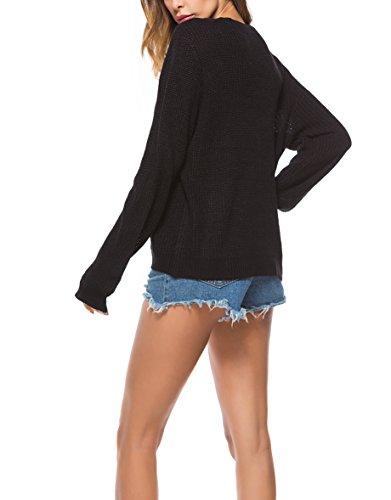 Femme Pull Casual Col V Sexy Uni Manche Longue Top en Tricot Chic Simple Elégante Pull Veste Monissy Noir