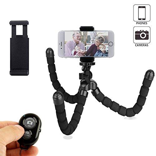 Mini Flexible & Portable Stativ Halterung Phone Mount mit Bluetooth drahtlose Fernbedienung, für iPhone Handy Stativ und Smartphone oder Kamera