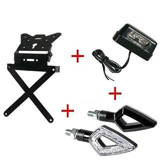 Kennzeichenhalter für Motorrad Kit Universal + 1Paar Blinker + Kennzeichenbeleuchtung Lampa zugelassen Gilera SMT 502004-04