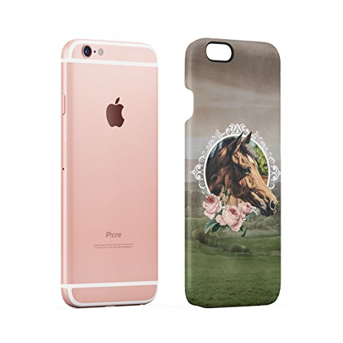 Vintage Wild Running Mustang Horse In Fields Custodia Posteriore Sottile In Plastica Rigida Cover Per iPhone 5 & iPhone 5s & iPhone SE Slim Fit Hard Case Cover Floral Horse