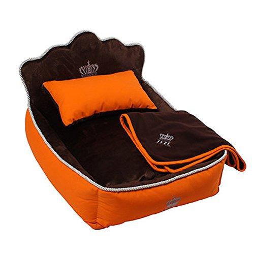 Micat® (3er-Set) Haustierbett, Steppdecke und Kissen, bequeme weiche voll waschbar Hundebetten ZEZE Hundehütte Baumwolle Nest Teddy Princess Bed Katzenstreu (S: 53*36cm, Orange)
