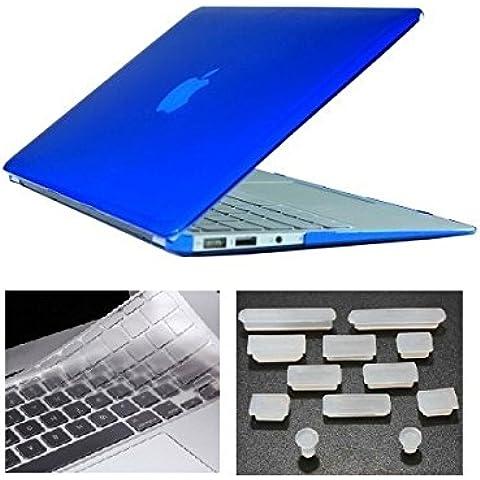 HYAIT 3in 1Ultra Sottile Cristallo Hard Case + tastiera copertura + Anti-Dust Plugs per Apple Macbook Air da 11.6A1370e A1465, colore: blu scuro