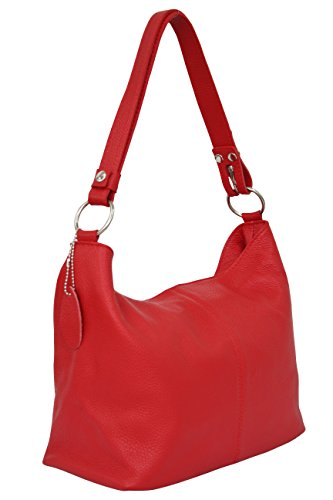 Rot Leder Mode (AMBRA Moda Damen Leder Handtasche Schultertasche Umhängetasche Hobo bag GL005 (Rot))