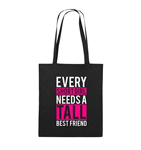 Comedy Bags - Every short girl needs a tall best friend - Jutebeutel - lange Henkel - 38x42cm - Farbe: Schwarz / Weiss-Neongrün Schwarz / Weiss-Pink