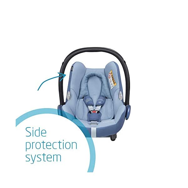 Maxi-Cosi CabrioFix Baby Car Seat Group 0+, ISOFIX, 0-12 Months, Frequency Blue, 0-13 kg Maxi-Cosi Baby car seat, suitable from birth to 13 kg (birth to 12 months) Side protection system for optimal protection against side impact Extra comfortable head support thanks to extra padding 5