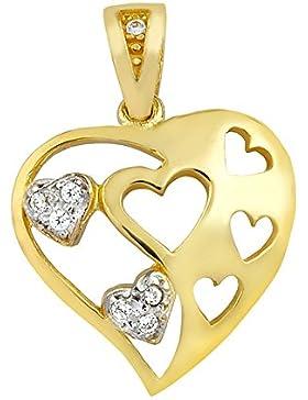 aion Collier Massiv Gold 585 Gold Kette mit Anhänger Herz Gelbgold 14K Halskette 45 - 50 cm