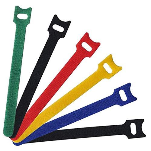 Saconell - confezione da 60 fascette colorate per cavi, 15 cm, riutilizzabili, autoadesive, in microfibra