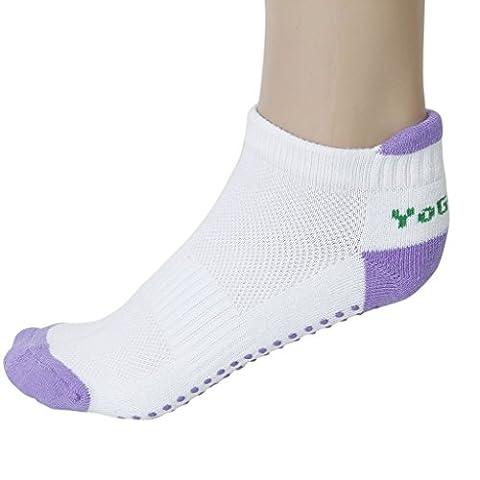 Haahaha Lady antidérapant de massage yoga en coton courtes Chaussettes Athletic Chaussettes (Violet)