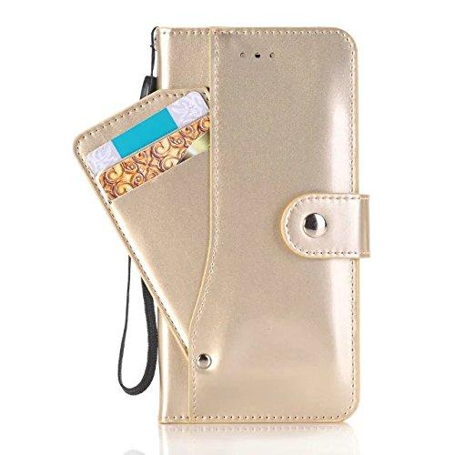 iPhone Case Cover Housse IPhone 7 Plus, Couleur Solide Surface Lumineuse Modèle Portefeuille Stand Case Avec Dragonne Pour Apple IPhone 7 Plus ( Color : Gold , Size : Iphone7 Plus ) Gold