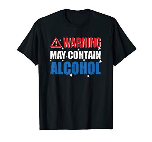 Warnung kann enthalten Alkohol Stars And Stripes T-Shirt -