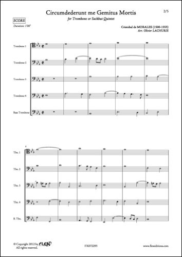 PARTITURA CLASICA - Circumdederunt me Gemitus Mortis - C. de MORALES - Trombone Quintet