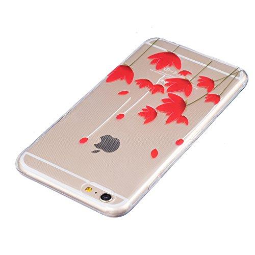 Voguecase® für Apple iPhone 6 Plus/6S Plus 5.5 hülle, Schutzhülle / Case / Cover / Hülle / TPU Gel Skin (Weiße Blumen und Schmetterlinge 01) + Gratis Universal Eingabestift Rot Blume 15
