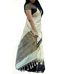 Shreeji Ethnic Women's Bhagalpuri Silk Colour Block Saree With Blouse Piece (white Pallllll22_Black And White_Free...