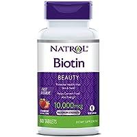 Natrol Fast Dissolve Biotin (Vegetarian, 10,000mcg, 60 Strawberry Flavoured Tablets)