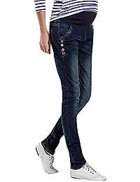 Flora, Damen Schwangerschafts-Jeans Dunkel Gerades Bein Läßig Knopfdetail Volles Bein