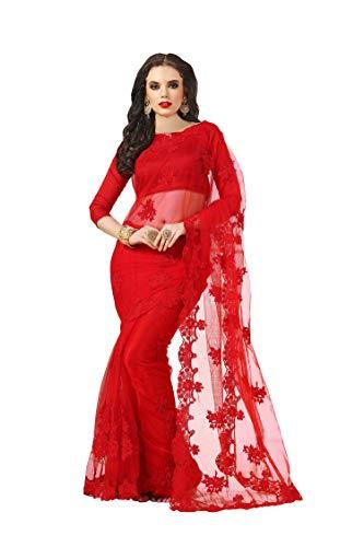 Darshita International Women\'s Net Saree (Rednet_Red)