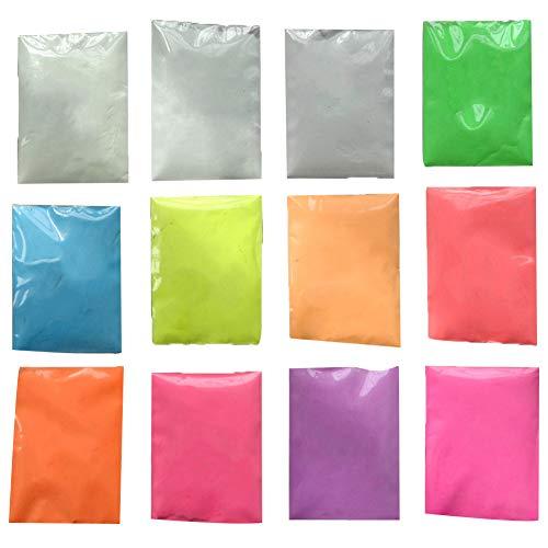 ark Pigment-Puder-Neutral und fluoreszierenden Farben leuchtenden Pulver Sicher ungiftig Pulver für Slime Nails Musik Festivals Konzerte Rosa 12st ()