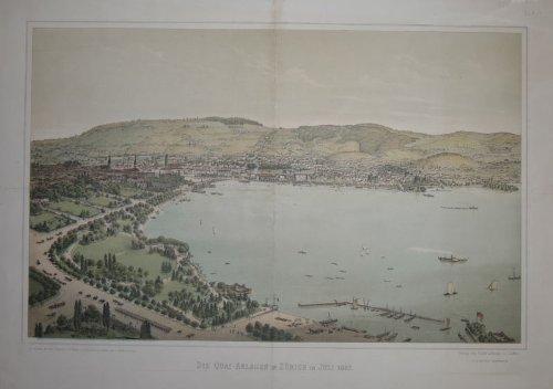 Die Quai-Anlagen in Zürich im Juli 1887. Gesamtansicht von Zürich mit Blick über den See....