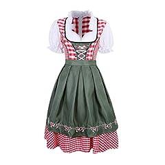 Idea Regalo - Mxssi Donna Bavarese Dirndl Set - Tradizionale Costume a Maniche Corte Donna Vestito Dirndl per Oktoberfest Carnevale Halloween Festa
