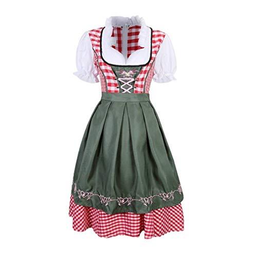 Dirndl Kleid für Damen Frauen Traditionelle Bayerische Kostüm Kleid Kostüm Schürze Kleider für Oktoberfest Halloween Karneval