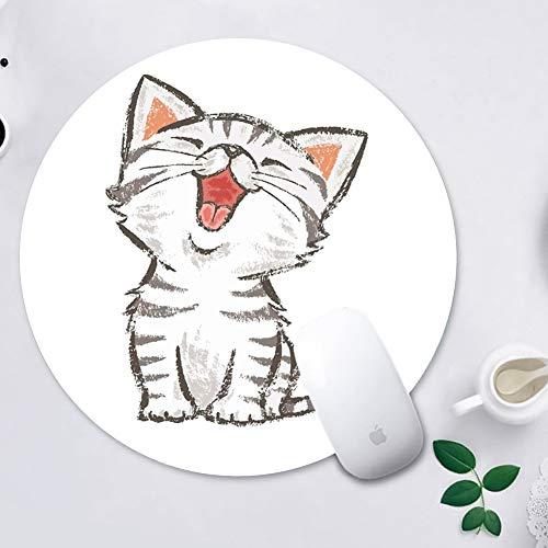 GODTOOK Alfombrilla de Ratón Mousepad Cojines de Ratón Redondos para Computadoras Laptop Antideslizante Juego de Goma Alfombrilla de Ratón - Dibujo del Gato