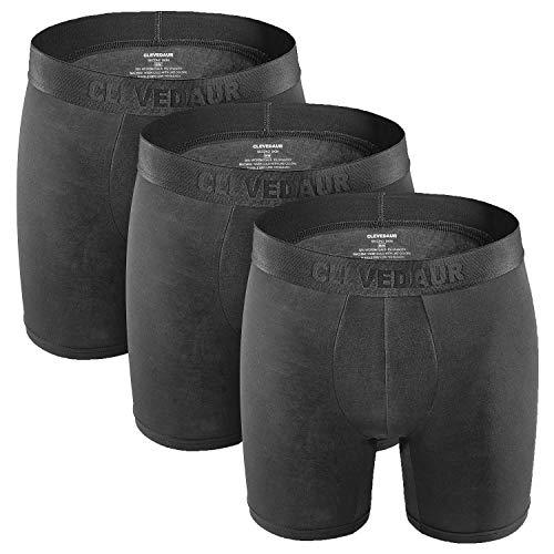 Modal Boxer Briefs (CLEVEDAUR Mens Underwear Boxer Briefs 3 Pack Ultra Soft Comfy Breathable Black 11