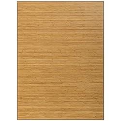 Alfombra de Salón o Comedor, Marrón, con Base Antideslizante, de Bambú Natural 180cm X 250cm - Hogar y Más
